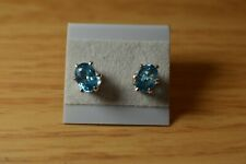 2.40ct Poolwater Blue Zircon Solitaire Earrings 6 Prong Sterling Silver  7x5mm