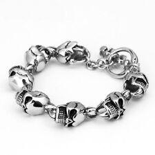 """Link Biker Stainless Steel Bracelet Bangle 7.2"""" Men's Women's Punk Skull Chain"""