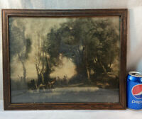 Vtg 1930's? Morning Dance Of The Nymphs Corot Lithograph Print Frame