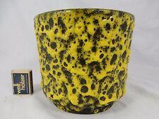 70´s il POTTERY Céramique Flowerpot Fleurs Cache-pot Yellow Fat Lava Glaze 15 cm