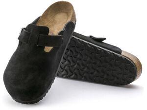 NEW Birkenstock Boston Clog Black Suede Soft Footbed. Size 38 US 8