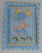 PACK 2 BABY BOY BUNNY AND BALLOONS EMBELLISHMENT FOR CARDS AND CRAFTS
