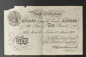 Bank of England White Ten Pound Note, £10, K120 01839  dated 17th March 1933
