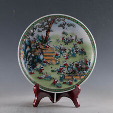 Chinese Porcelain Handwork color painting Children Plate Qianlong Mark