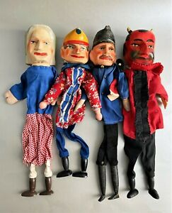 4 Old Hand Puppets Punch-and-Judy Handicraft Puppet Theatre