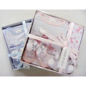 New Baby Shower Gift Set boxes / Hamper Unisex Girls Boys 4 Pcs Pink Sky Cream W