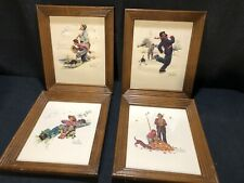 Vintage Norman Rockwell Grandpa And Me Embossed Framed Set