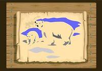 Polar Bear & Cub, Stencil 350 micron Mylar not thin stuff #PBear01