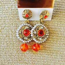 Traditional Indian earring with Orange crystal drops