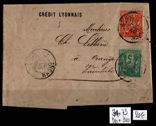 TYPES SAGE 75 + 94 sur Lettre de Lyon = Cote 20 € / Classiques France
