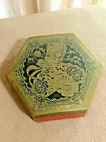 Vintage ARTSTYLE Chocolate Co Footed  Brass Embossed Red Hexagon Tin