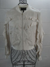 NEW BCBG Max Azria Off White Ruffle Cropped Zipper Jacket M Medium NWT $228