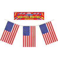 BUNTING AMERICAN USA UNITED STATES STARS AND STRIPES - 12 FT LONG 11 FLAGS