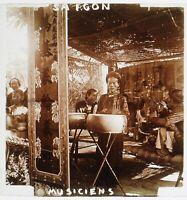 Vietnam Saigon Ho Chi Minh-Ville Musicisti Foto Placca Stereo Vintage c1900
