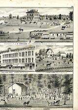 1874 Engravings of Macon County Illinois locations, from Atlas of Macon County