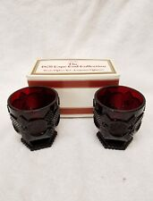 Red Avon 1876 Cape Cod Collection ~FOOTED GLASS SET~ in box (11R)