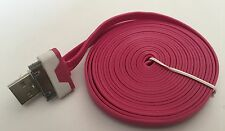 Heavy Duty strong apple iphone 4 4S Ipod Ipad 2 3 USB lead cable flat 3M rose