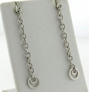 Damiani Diamantissima 18K 750 White Gold Drop/Dangle Earrings 9.7g Italy NEW