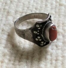 Vintage ethnic/tribal silver and coral ring