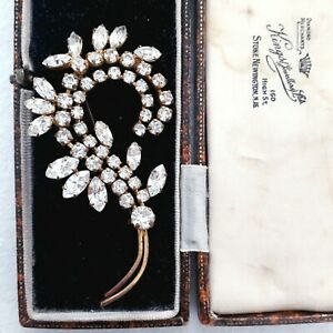 VINTAGE SPARKLING MARQUISE CLEAR GLASS DIAMANTE FLOWER SPRAY LARGE PIN BROOCH