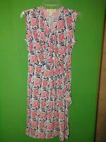 4237) NWOT MICHAEL KORS small polyester knit dress elastic waist red black new S