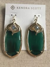 Kendra Scott Emerald Green With Iridescent Gabby Danielle Size Earrings Rare HTF