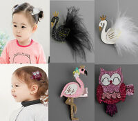 2PCS Baby Girls Kids Swan Owl Hair Clips Hairpin Princess Hair Decor Headwear