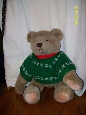 """Vintage 1982 Gund Christmas Bear Jointed With Green X-mas Sweater Plush 17"""""""
