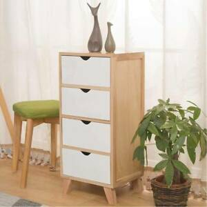 Wood Chest of 4 Drawers Narrow Bedside Cabinet Organiser Bedroom Storage Unit