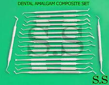 DENTAL AMALGAM COMPOSITE PLASTIC FILLING INSTRUMENTS SET OF 17 DOUBLE ENDED