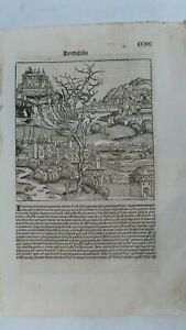 CCXC-PORTUGALAIA/ITALY Leaf from Schedel's Nuremberg Chronicle, First Ed.