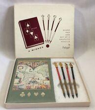 Vintage 1950s Bridge Score Keeping Set Stylecraft Card Game Pad Pencils Box 2512