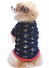 CUTE DOG PUPPY NAVY BLUE PINK PAW FLEECE JUMPER PYJAMAS TOP CLOTHING - FREE P&P!