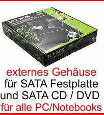 EXTERNAL ENCLOSURE FOR S-ATA DVD-RW + SATA HARD DRIVE NOTEBOOK CASE HDD CD