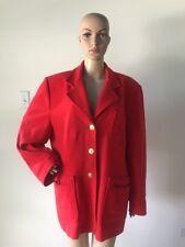 Vintage 90s Focus 2000 Charles Gluech Red Cashmere Wool Coat Jacket Blazer 18 XL