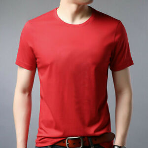 Mens Mulberry Silk Short-Sleeved Summer Round Neck Solid Color Casual Top M-3XL