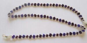 Spirit of Nature Eye Glass Holder Chain- Beads Flower- purple silver brown