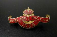 VINTAGE ENAMEL ROYAL AGRICULTURAL SOCIETY OF NSW 1936 MEMBERS BADGE JM DEMPSTER