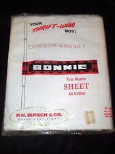 Vintage White PN Hirsch Bonnie Fine Muslin 100% Cotton Full-Size Flat Sheet-NOS