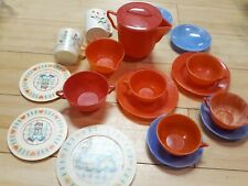 Vintage Pretend Play Dishes Ideal & Chilton Tea Set Plates Cups Saucers Toy Lot