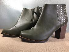 BNWOT Ladies Sz 8 Rivers Brand Super Soft Olive High Heel Short Boots RRP $100