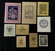 42)Nr.169- EXLIBRIS-verschiedene Künstler, Heraldik Konvolut 9 Blätter
