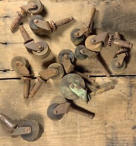 Antique Wooden Casters Furniture Wheels Large Lot