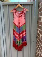 Ladies DIANA WARE Free Size Midi Dress Embroidered Beach Casual Boho S M L