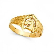 Horseshoe Horse Head Good Luck Ring Solid 14k Yellow Gold Lucky Charm Band