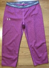 UNDER ARMOUR Capri Leggings Youth Large Pink And Gray