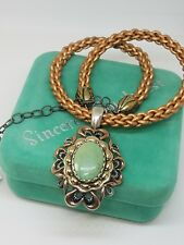 Carolyn Pollack Sterling Copper Brass Green Turquoise Pendant Leather Necklace