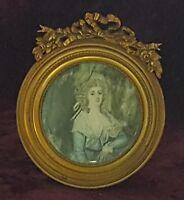 Round gilt wood frame vintage pre Victorian antique portrait miniature painting