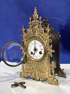 RARE VINTAGE ANTIQUE FRENCH CARVED GILT BRONZE STRIKE  CLOCK,PORCELAIN DIAL
