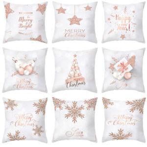 45cm Christmas Pillow Case Pink Gold Printed Cushion Cover Pillowcase Home Decor